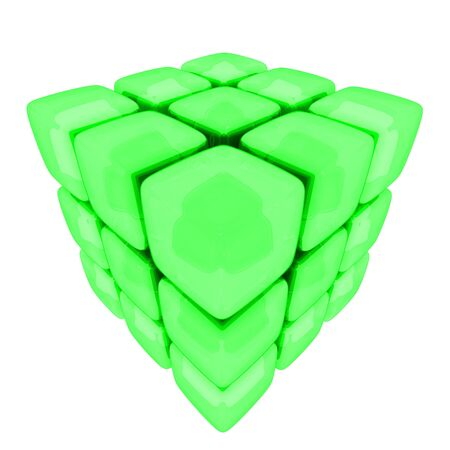 A 3d illustration of metallic cubes isolated on white.  Banco de Imagens