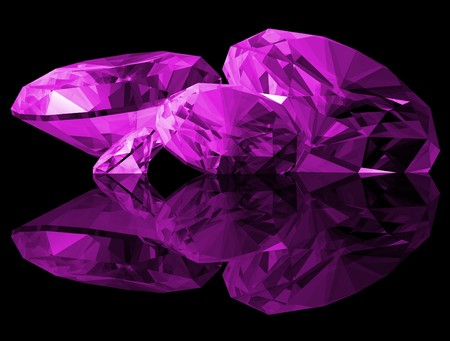 A 3d illustration of amethyst gems isolated on a black background.
