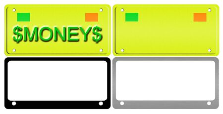 An illustration of a set of license plates and frames. illustration
