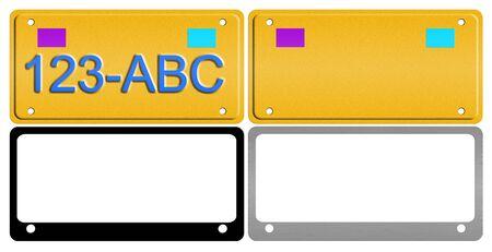 An illustration of a set of license plates and frames. illustration