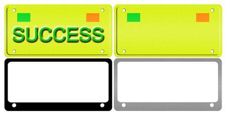 Een illustratie van een set van kentekenplaten en frames.