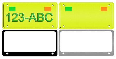 An illustration of a set of license plates and frames. Reklamní fotografie