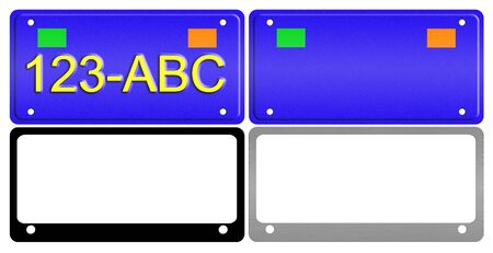 plate: An illustration of a set of license plates and frames. Stock Photo