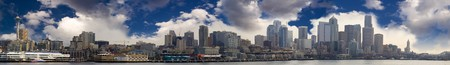 The Seattle skyline as seen from the water. Panoramic image. Stock Photo - 4264625