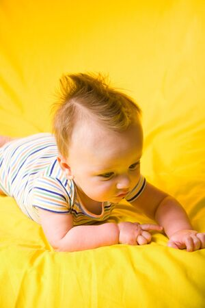 five month old: A portrait of a cute five month old baby boy. Shallow depth of field.