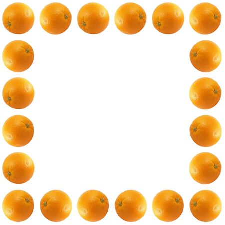 A bunch of fresh isolated oranges on a white background. photo