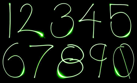 A set of numbers made from motion blurred light.  photo