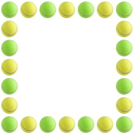 A bunch of tennis balls isolated on a white background.