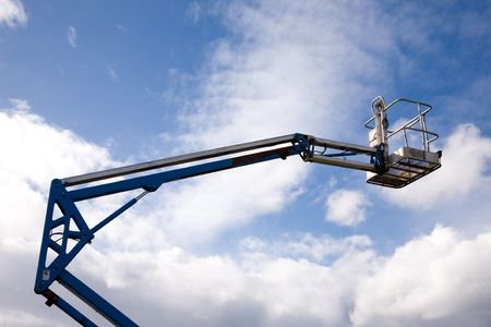 A close up on an industrial elevated crane platform. Stock Photo
