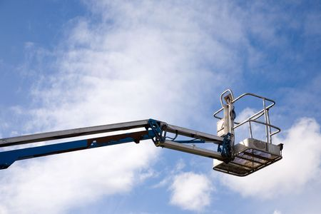 erector: A close up on an industrial elevated crane platform. Stock Photo