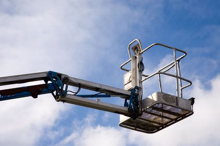 A close up on an industrial elevated crane platform. Banque d'images