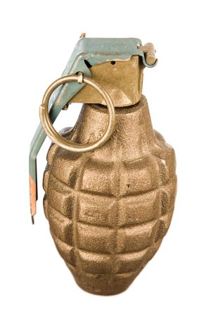 A close up on an isolated hand grenade. 版權商用圖片