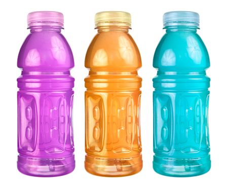 A close up on a set of isolated sports drink bottles. Stock Photo
