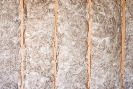 Eco-friendly insulation in a home remodel project. Banque d'images