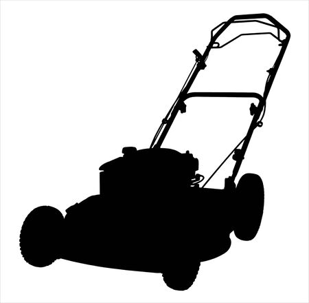 Een illustratie van een grasmaaier silhouet op een witte achtergrond.