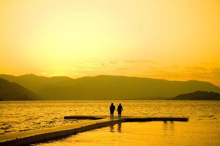Sunset at Lake Chelan in Eastern Washington. Imagens