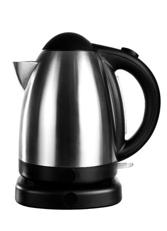 electric tea kettle: An isolated electric tea kettle on a white background. Stock Photo
