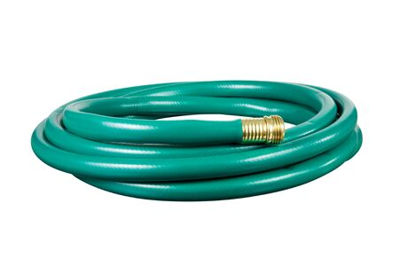 garden tool: A garden hose isolated on a white background.