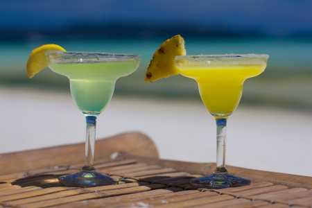 Classic and pineapple margarita cocktails at Philippines beach photo