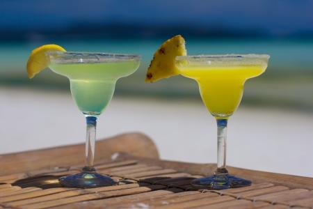 margaritas: Classic and pineapple margarita cocktails at Philippines beach