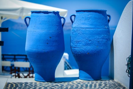greece: Traditional two large blue bins in the Greek village