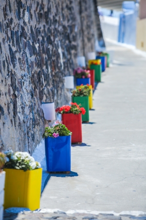 Traditional greek colorful flowerpot with flowers ,Santorini island,Greece photo