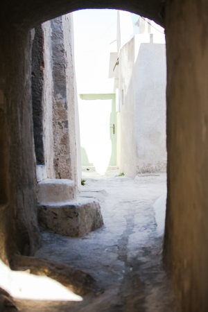 staircases: Village houses with old staircases in greek town at Santorini island