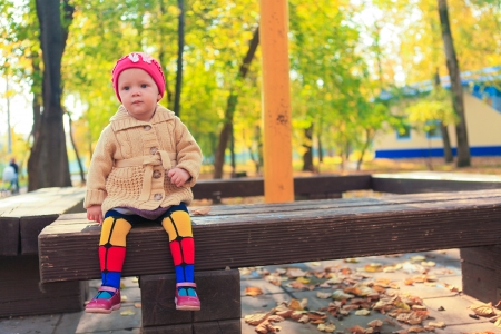 Little beautiful girl sits on a bench in autumn park photo