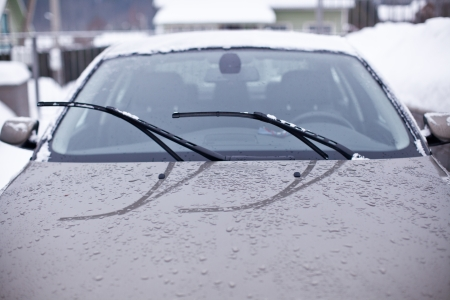 Front windshield of the car on a rainy day photo