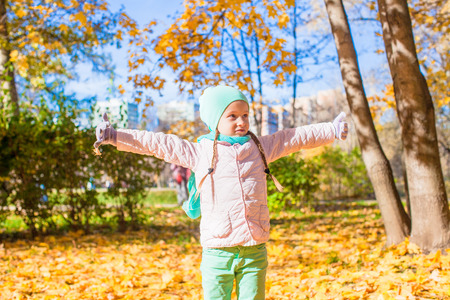 Little funny girl throws autumn leaves in the park on a sunny fall day photo