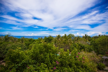 Panoramic views of beautiful sky and ocean from the balcony photo