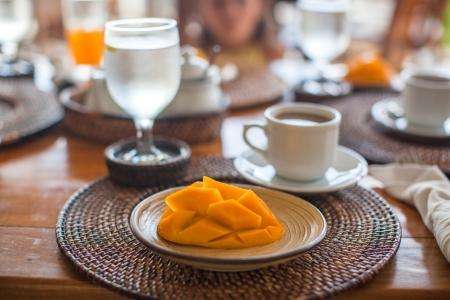 philippino: Philippino breakfast with mango and coffee Stock Photo