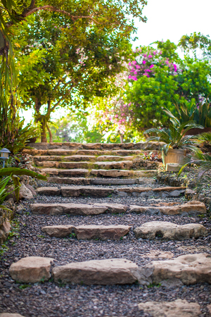 Old stone steps in a cozy little boutique hotel photo