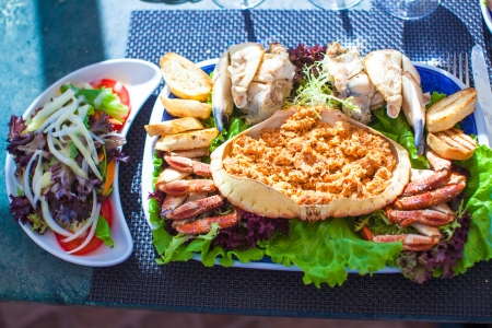 prepared shellfish: Seafood on the plate. Prepared Shellfish. Stock Photo