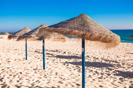 Straw umbrellas on empty tropical beach on the Atlantic coast photo