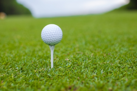 Golf ball on a tee against the golf course photo