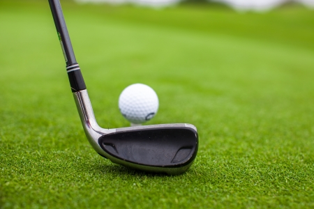 Golf stick and ball on green grass photo