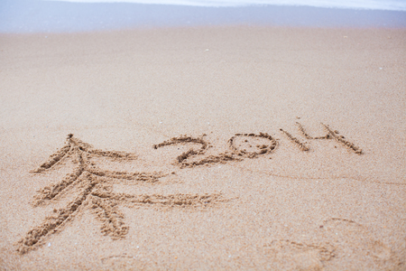 New Year 2014 is coming and tree on the sand photo