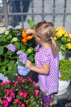 nice girl: Little nice girl watering flowers with a watering can