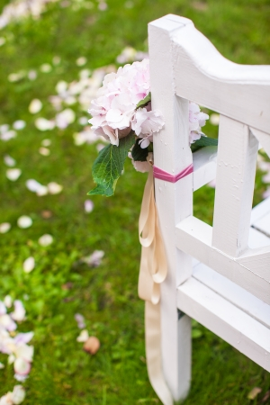 entrance arbor: Wedding benches and flower for ceremony outdoors