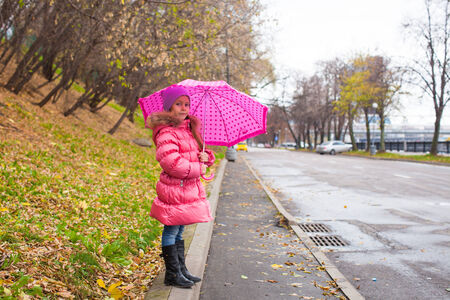 Little girl walking under an umbrella in the autumn rainy day photo