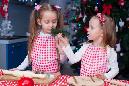 Two little adorable girls preparing gingerbread cookies for Christmas photo