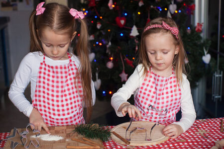 Little cute sisters bake gingerbread cookies for Christmas photo