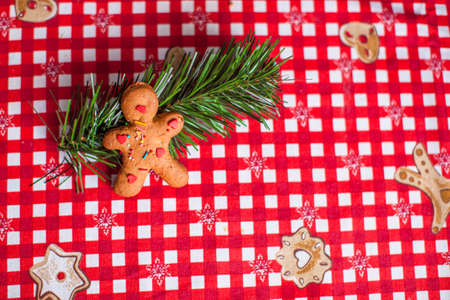 Gingerbread man on bright table photo