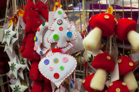 Christmas colorful toys for the fur in a supermarket photo