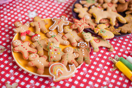 Ready Christmas gingerbread cookies on a plate photo
