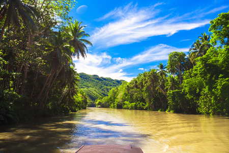 bohol: Tropical Loboc river, blue sky, Bohol Island, Philippines