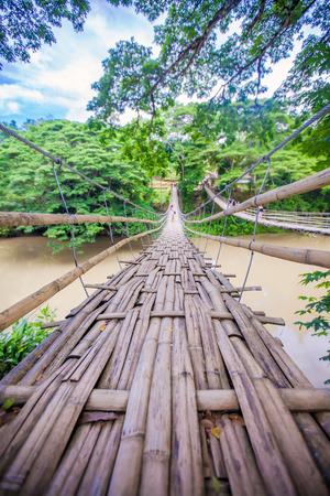 Hinged bridge over the River Loboc in Bohol, Philippines Stock Photo