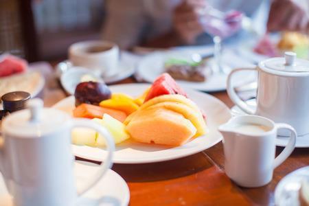 philippino: Philippino healthy breakfast with mango and orange juice