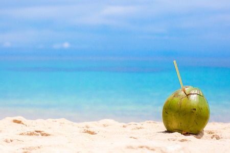 Big green coconut on tropical white sand beach in a sunny day Stock Photo